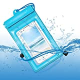 Waterproof Phone Pouch Floating, Universal Waterproof Case Compatible Underwater Dry Bag with Lanyard for iPhone Xs Max/XR/X/8/7 Plus Galaxy Pixel Up to 6.5'. (Blue)