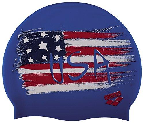 Arena Silicone Print 2Berretto di Nuoto, Uomo, Uomo, Silicona Print 2, Multicolore (Flag/USA)