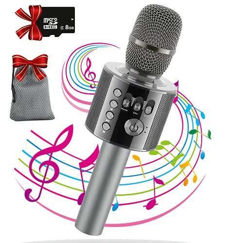 DigitCont Bluetooth Karaoke Micrófono Inalámbrico Portátil Karaoke Mic Altavoz Reproductor Grabador con Radio FM Ajustable Navidad Fiesta de Cumpleaños para Niños Adultos