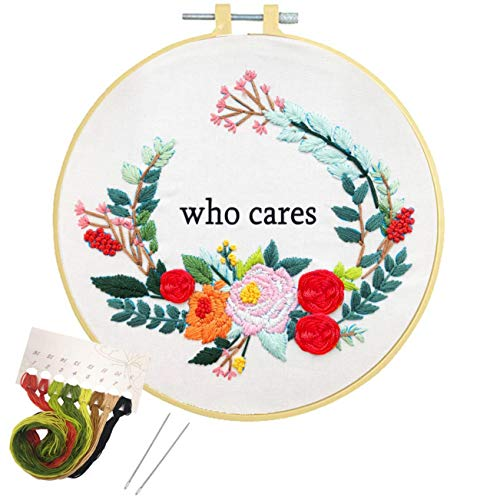 Embroidery Kit for Beginner Cross Stitch Kit for Adults, Artilife Printed Embroidery Starter Kit Crafts with Stamped Pattern Embroidery Hoops Floss Thread Needles