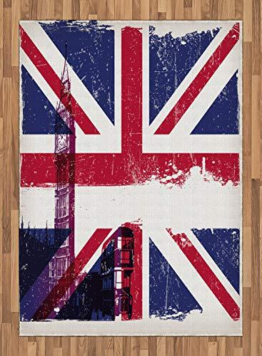 ABAKUHAUS Bandera De Reino Unido Alfombra de Área, País Cultura Antiguo, Tejida Acento Decorativo para Sala de Estar o Dormitorio, 160 x 230 cm, Multicolor