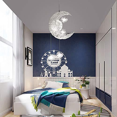 Sunsbell Creativo Luna y Estrellas Lámpara Colgante LED de Hada Lámpara de Techo, luz de Techo, Niños, Dormitorio, Decoración (Blanco Cálido)