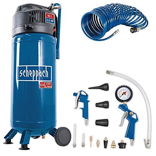 Scheppach Kompressor HC51V (1500W, 50 L, 10 bar, Ansaugleistung 220 l/min, Druckminderer, ölfrei, stehende platzsparende Bauweise) - inkl. 13-teiligem Druckluft-Werkzeug-Set + 10 m Spiralschlauch