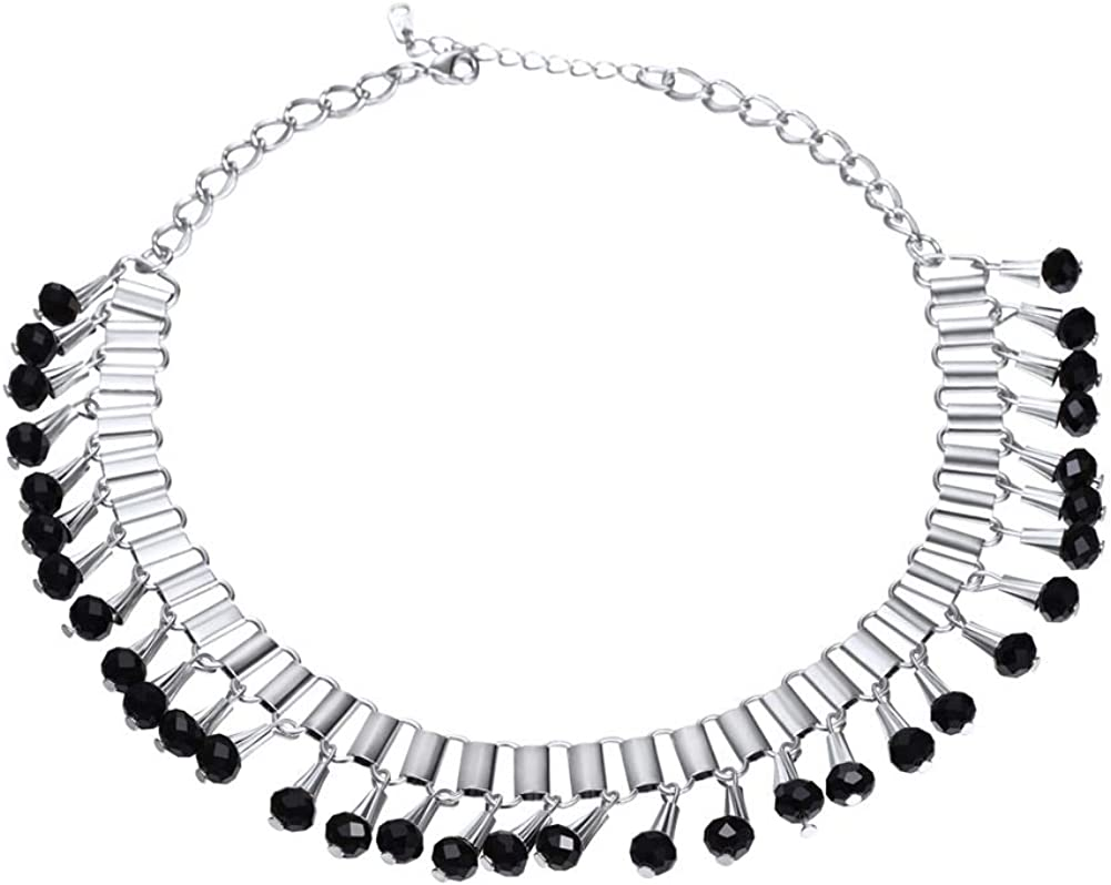 U7 Deluxe Women Party Collar Spring new work one after another Necklace Rhinestones Plated Black Platinum