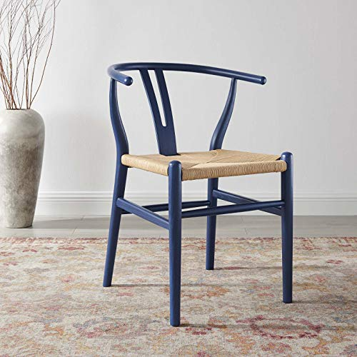 Price comparison product image Modway Amish Dining Wood Side Chair,  Midnight Blue