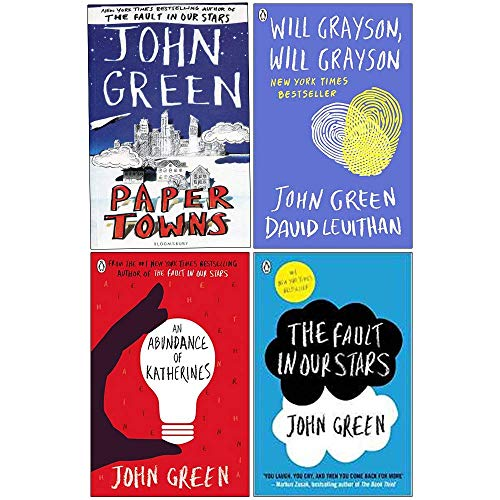 John Green Collection 4 Books Set (Paper Towns, Will Grayson Will Grayson, An Abundance of Katherines, The Fault in Our Stars)