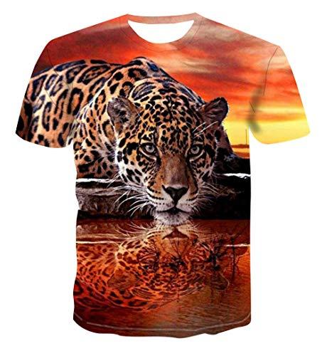 Guepardo, en, el, ocaso Camiseta para Hombre con Estampado en 3D, Camisetas Informales de Verano de Secado rápido, Novedad, Camiseta de Manga Corta