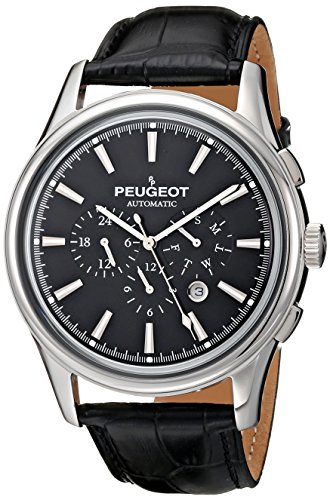 Peugeot Men's MK910SBK Stainless Steel Watch with Black Embossed Leather Band