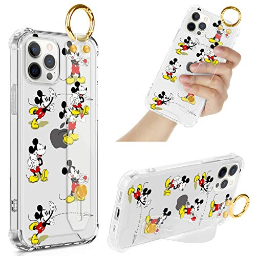 DISNEY COLLECTION iPhone 12 Pro Max Clear Case with Wrist Strap Band/Lanyard, Slim Anti-Yellow Full-Body Drop Protection Cover Design Cute Mickey Mouse Case for 12 Pro Max 6.7 Inch