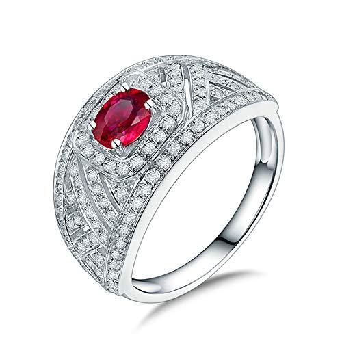 Beydodo Anillo Mujer Compromiso,Anillo Oro Blanco Mujer 18K Plata Rojo Redondo Rubí Rojo 0.48ct Diamante 0.63ct Talla 25(Circuferencia 65MM)
