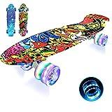 Photo Gallery lisopo mini cruiser skateboard, 22''55cm mini skateboard 4 pu ruote lampeggiantialed cuscinetto abec-7, tavola robusta per principianti, bambini e adulti, migliore regalo di per bambini, joker led