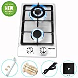 12 Inches Gas CooktopHigh Gas StoveGasHob Stove TopRvStove2 BurnersGasRange Double Burner Gas Stoves Kitchen High Gas StoveStainless Steel Built-In Gas HobLPG/NG Dual Fuel Easy to Clean