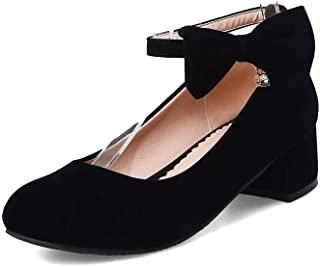 BalaMasa Womens Bows Solid Nubuck Urethane Pumps Shoes APL10487