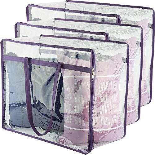 Bolsas de almacenamiento transparentes con cierre, organizador de clóset, bolsa de vinilo para ropa de cama, sábanas, mantas, fundas de edredón, ropa y juguetes | Organizadores...