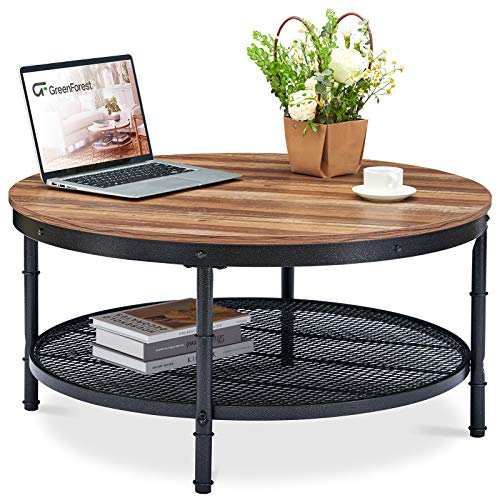 GreenForest Coffee Table Round 35.8' Industrial 2-Tier Sofa Table with Storage Open Shelf and Metal Legs for Living Room, Dark Oak
