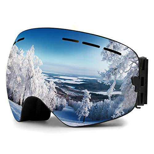 Zerhunt Ski Goggles, Snowboard Goggles Over Glasses, Anti Fog UV Protection Snow Goggles OTG Interchangeable Lens for Men Women Snowmobile, Skiing, Skating, Silver