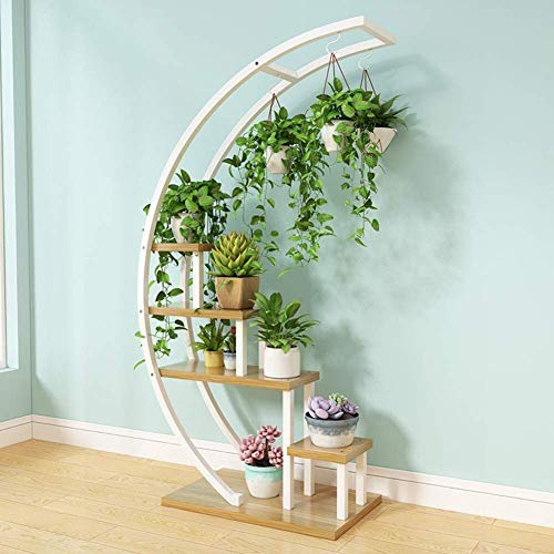 YANGSANJIN Stand 5 dieren plant rek plank ladder bloem pot tandstang voor huis gazon tuin balkon houder (wit + log)