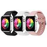 Correa Apple Watch 3 Paquetes, Correas Compatible con Apple Watch 38mm 42mm 40mm 44mm, Soft Silicone Sports Correa Suave de Deportiva Repuesto Compatible con Apple Watch SE/iWatch Serie 6 5 4 3 2 1