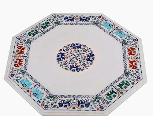 Mesa de café de mármol con incrustaciones de forma octogonal de 24 x 24 pulgadas con diseño de elefante multicolor