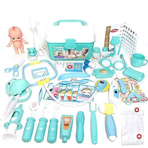 FeelMeet Medico Toy Kit Dogottori Durevoli Set Bambini Pretending Doctor Nurse Giocattoli in Plastica Blu Giocattolo Giocattolo Giocattolo Set con Scatola di Stoccaggio Box Regali di Compleanno 48pcs