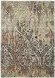 Mehar Carpets & Home Alfombras de diseño Moderno Color Beige/óxido, 100% Lana de Seda, el Mejor para la decoración del hogar, tamaño de alfombras persas (181 x 274 cm)