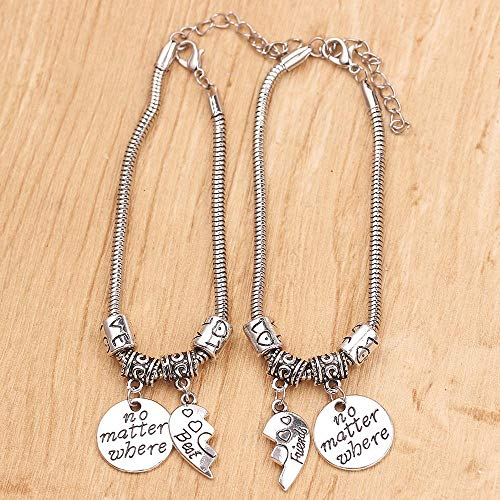 Qingsb 2PCS Charm Bracelet Best Friends No Matter Where Compass Bangle Half Broken Heart Friendship Couple Wrap Adjustable Armband