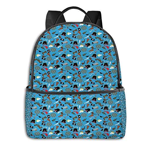 Rucksack Freizeit Damen Herren, Ornament Freibeuter Campus Kinderrucksack, Daypack Schulrucksack Sportrucksack Tablet Tasche 15,6 Zoll