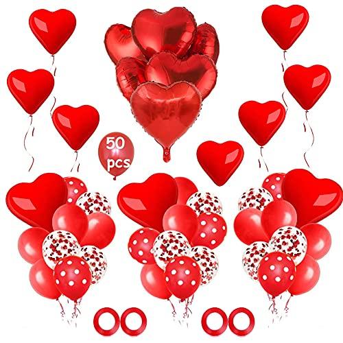 NHHEO Palloncini Rossi, Palloncini Cuore Rosso, 50 Pezzi Palloncini Rossi e Bianchi per Matrimoni, Anniversari, San Valentino, Decorazione Festa di Compleanno (Rosso)
