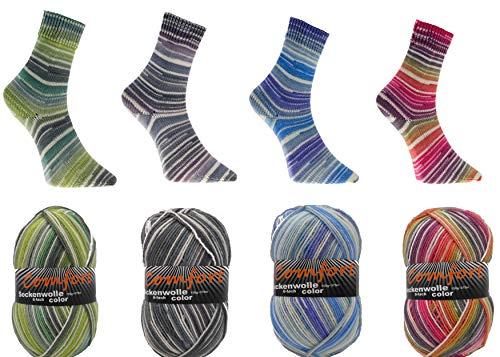 Sockenwolle Strumpfwolle Comfort Color 4x150gr 6-fädig Color 150gr 375m/LL 600gr für besonders warme Füße Set Bunt 1966.01-04