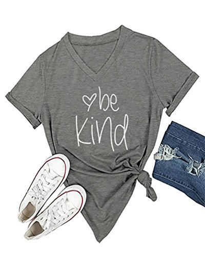 DANVOUY Womens T Shirt Casual Cotton Short Sleeve V-Neck Graphic T-Shirt Tops Tees Grey Large