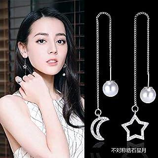 Jxc 925 Silver Pin Earrings Pearl Temperament Long Tassel Earrings(Legend Of Stars And Moon)