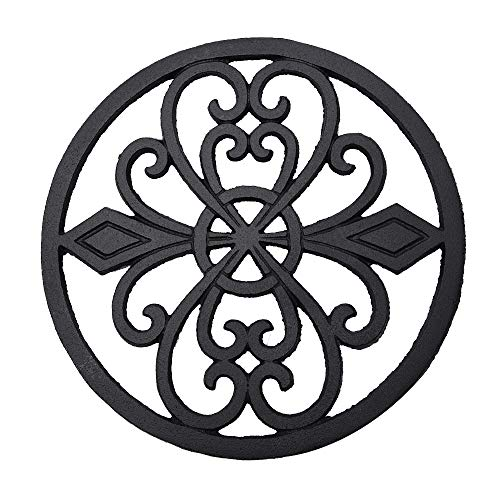 Sungmor Heavy Duty Cast Iron Round Metal Trivet,Rustproof Black Racks Stands Holders for Hot Pans or Teapot,Kitchen or Dinning Table Decorations
