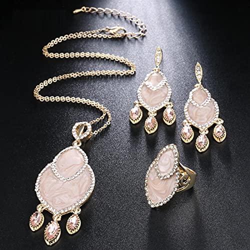 YUANBOO Conjuntos de joyería de la Boda de la Vendimia para Las Mujeres enamelan el Anillo de circón y el Collar Pendientes del Color del Oro 3pcs Bohemia Juego de joyería