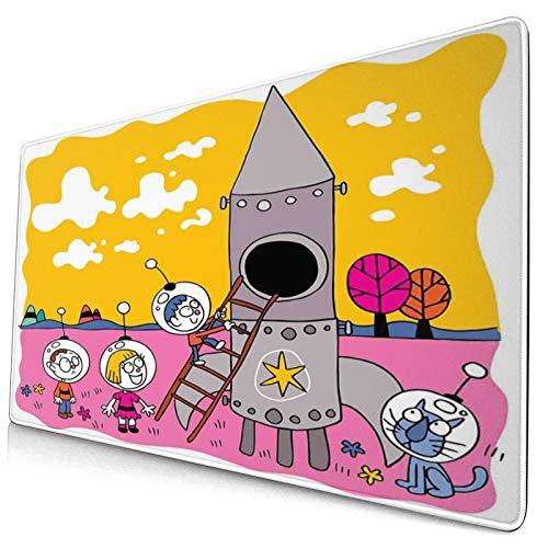 HUAYEXI Alfombrilla Gaming,Niños de Astronauta héroe con Cohete Espacial Nave Infantil Sueño Divertido Obra de Arte,con Base de Goma Antideslizante,750×400×3mm