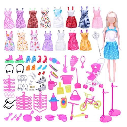 WFIT 114 Piezas De Joyería Y Accesorios De Ropa para Muñecas Juego De Ropa para La Muñeca De Barbie De Alimentación con Los Vestidos Ocasionales Calzado Bolsos Bandas De La Pulsera del
