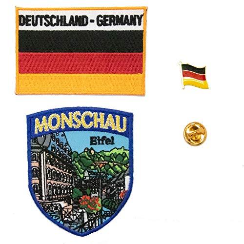 A-ONE Aufnäher, Deutschland, Monschau Stadt, bestickt + deutsche Nationalflagge + Deutschland-Flagge, Reversnadel, Weltmarken-Aufnäher, Emblem, 3 Stück