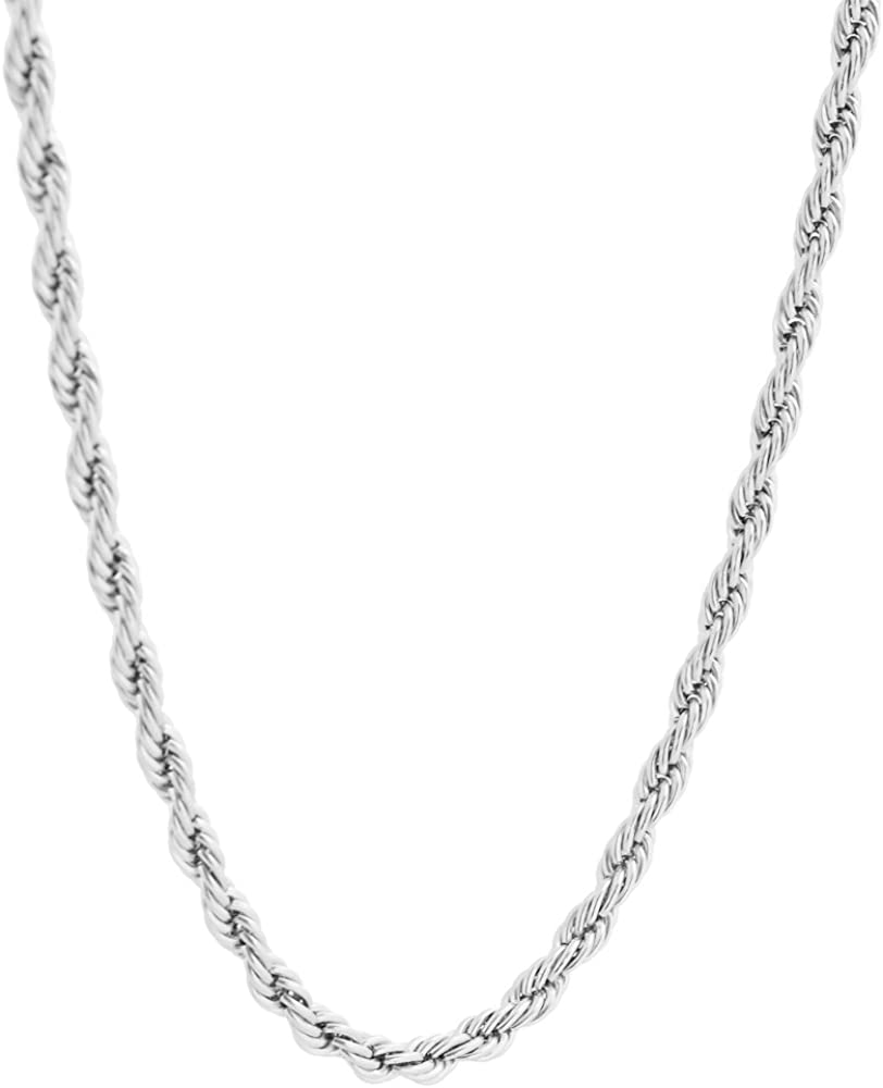 Stainless Steel 4mm Twist Rope Chain Necklace, 22