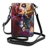 Harley-Quinn - Bolso bandolera pequeño ligero de piel para teléfono móvil, bolso de viaje, bolso de bandolera, cartera con cred