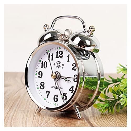 Kfdzsw Reloj despertador mecánico retro dorado con micro interruptor, reloj de mesa de metal para decoración del hogar (color plateado)
