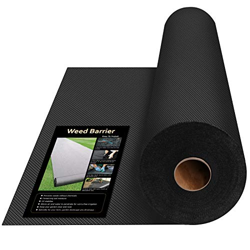 Keeswin 31.5in x 100ft Heavy Duty Garden Weed Barrier, Garden Landscape Fabric Weeds Control for Flower Bed, Mulch, Edging, Garden Stakes, Heavy Duty Outdoor Project Weed Mat