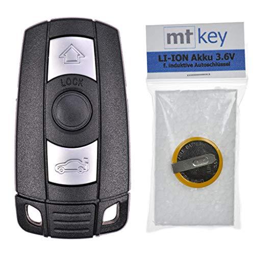 Autoschlüssel Funk Fernbedienung Austausch Gehäuse mit 3 Tasten + Notschlüssel Rohling + Akku kompatibel mit BMW E60 E90 E53 E87 E88 E81 E63 E61 E91 E93 E70