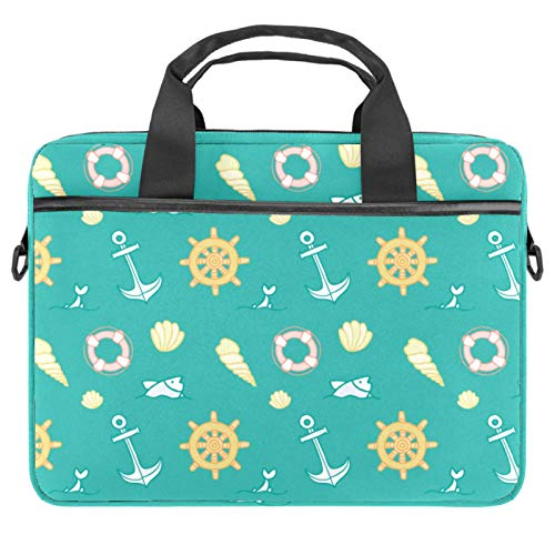 Laptop Bag Nautical Pattern Compass Anchor Notebook Sleeve with Handle 13.4-14.5 inches Carrying Shoulder Bag Briefcase