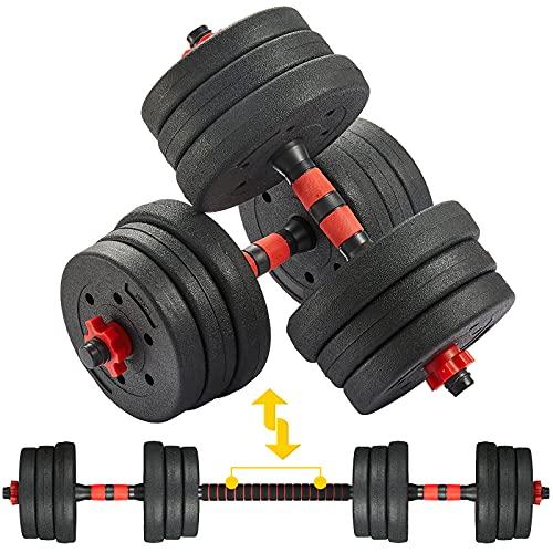 Albott Set di Manubri 2 in 1, Manubri Regolabili con Bilanciere, Allenamento della Forza Esercizio Fitness Sollevamento Pesi in Palestra e a Casa