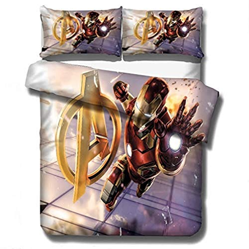 CHRN Boys 3D Avengers Printed Microfibre Deadpool Themed Duvet Cover Bedding Set, Used for Single Double Bed Children Adult (H:135 x 200cm)