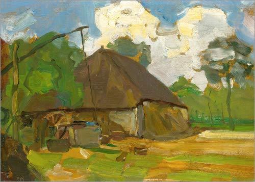 Posterlounge Acrylglasbild 80 x 60 cm: Landwirtschaftliches Gebäude mit Brunnen von Piet Mondriaan - Wandbild, Acryl Glasbild, Druck auf Acryl Glas Bild