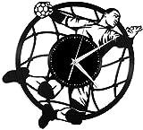 WTTA Handball Sports Vinyle Horloge Murale-Rétro Disque Vinyle Horloge Murale Cool Cadeau Décoration De La Maison-No_LED_Light