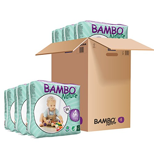 Bambo Nature Eco Friendly Baby Diapers Classic for Sensitive Skin, Size 4 (1540 Lbs), (6 Packs of 30), Size 4 (180 Count)