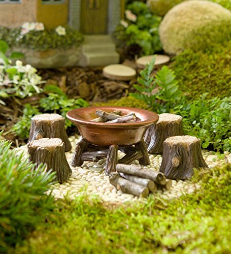 Fantastic Deal! Plow & Hearth Miniature Fairy Garden Fire Pit and Stump Seats Set