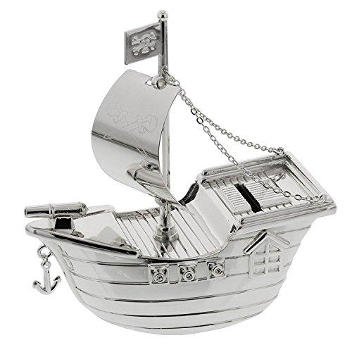 Christening Gifts. Silverplated Pirate Ship Money Box