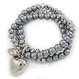 Avalaya - Pulsera flexible de 3 hebras de cristal gris con cuentas de cristal de plata met...
